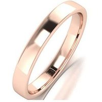 Love GOLD 9ct Rose Gold Premier Collection 3mm Heavy Weight Wedding Band, One Colour, Size N, Women