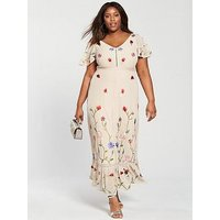 V By Very Curve Premium Embroidered Maxi Dress - Nude