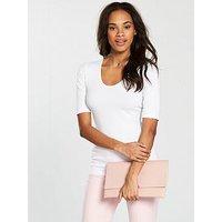 V by Very Round Neck Cotton Basic Top - White, White, Size 20, Women