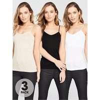 V by Very 3 Pack Cami Top, Black/White/Nude, Size 20, Women