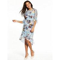 Little Mistress Printed Chiffon Midi Dress, Multi, Size 8, Women