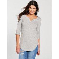 V by Very Rib Henley Long Sleeve Top - Grey Marl , Grey Marl, Size 12, Women