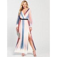 Little Mistress Long Sleeve Stripe Print Maxi Dress