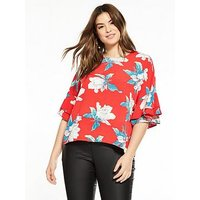 AX PARIS CURVE Frill Sleeve Floral Top, Red, Size 18, Women