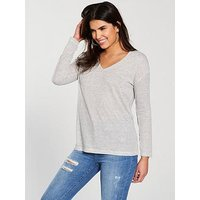 V by Very Linen Long Sleeve Top - Navy/White Stripe, Navy/White Stripe, Size 14, Women
