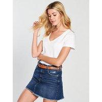 V by Very V Neck Slub Tshirt, White, Size 24, Women