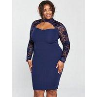 AX PARIS CURVE CURVE Lace Sweetheart Neck Bodycon Dress, Navy, Size 24, Women