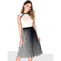 Little Mistress Pleated Midi Dress, Beige, Size 10, Women
