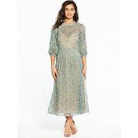 Little Mistress PETITE Lace Long Sleeve Midi Dress, Waterlily, Size 8, Women