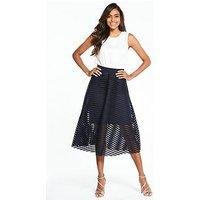AX Paris Sleeveless 2 In 1 Midi Dress, Cream/Navy, Size 8, Women