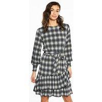 V by Very Petite Ruffle Hem Jersey Tea Dress - Check Print, Check Print, Size 14, Women