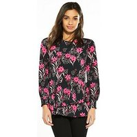 V by Very Petite Ruffle Hem Jersey Top - Floral Print, Floral Print, Size 16, Women