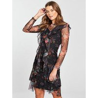 V by Very Frill Mesh Dress, Floral Print, Size 10, Women