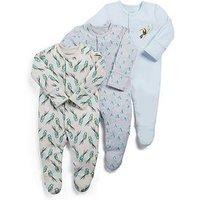 Mamas & Papas Baby Boys 3 pack Toucan Sleepsuits, Dark Aqua, Size 0-3 Months