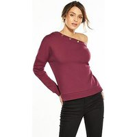 V by Very Popper Off The Shoulder Sweat - Red, Red, Size 8, Women