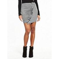 V by Very Check Frill Mini Skirt, Check, Size 20, Women