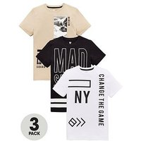 Boys, V by Very 3 Pack City Fashion Tees, Multi, Size 16 Years