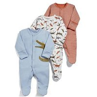 Mamas & Papas Baby Boys 3 Pack Snappy Sleepsuits, Green, Size Newborn