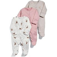Mamas & Papas Baby Girls 3 Pack Deer Sleepsuits, Pink, Size 12-18 Months
