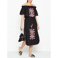 Seafolly Off Shoulder Embroidered Frill Dress - Black