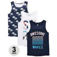 Boys, V by Very 3 Pack Surf Vests, Navy/White, Size 16 Years