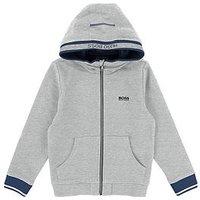 BOSS Boys Zip Through Hooded Jacket, Light Grey Marl, Size Age: 5 Years