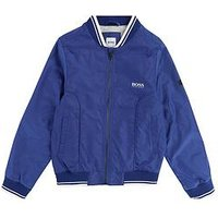 BOSS Boys Ribbed Trim Bomber Jacket, Electric Blue, Size Age: 4 Years