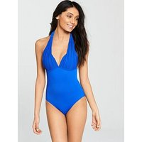 V by Very Pleated Cup Moulder Halter Neck Swimsuit – Blue, Blue, Size 18, Women