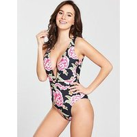V by Very Stud Plunge Floral Print Swimsuit, Print, Size 12, Women