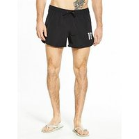11 Degrees Logo Swimshort, Black, Size L, Men