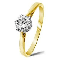 Love DIAMOND 9 Carat Yellow Gold 50 Point Solitaire Ring, Size N, Women