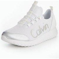 Calvin Klein Calvin Kelin Ron Trainer, White/Silver, Size 10, Men