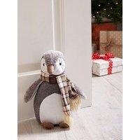 Product photograph showing Festive Plush Penguin Door Stopper Christmas Decoration
