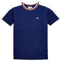 Lacoste Boys Short Sleeve Colourblock T-shirt, Maritime/White, Size 6 Years