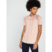 V by Very Shirred Neck Jersey Top - Peach Pink , Peach Pink, Size 12, Women