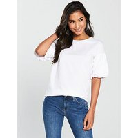 V by Very Puff Sleeve T-Shirt - White , White, Size 16, Women