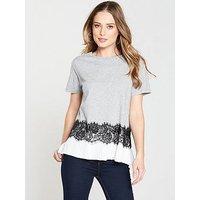 V by Very Lace Trim T-Shirt - Grey Marl , Grey Marl, Size 16, Women