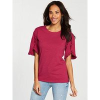 V by Very Ruffle Sleeve Detail T-shirt - Cherry, Cherry, Size 14, Women