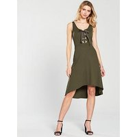 V by Very Large Eyelet Hi Lo Jersey Dress - Khaki, Khaki, Size 16, Women