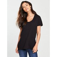 V by Very Pocket Front Tunic Top - Black , Black, Size 18, Women