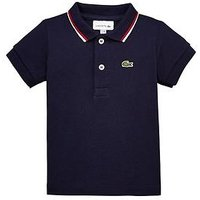 Lacoste Baby Boys Pique Polo & Croc Toy Gift Box Set, Marine/Red/White, Size 6 Months