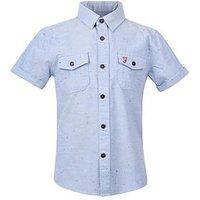 Farah Boys Short Sleeve Shirt, Dusky Blue, Size 5-6 Years