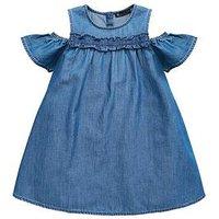 Mini V by Very Girls Tencel Cold Shoulder Ruffle Dress, Denim, Size 3-4 Years, Women