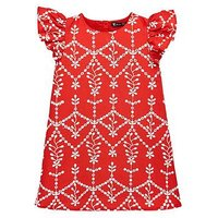 Mini V by Very Girls Embroidered Shift Dress, Red, Size 3-4 Years, Women