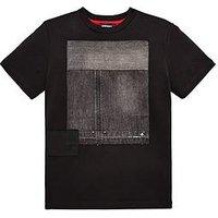Diesel Boys Denim Patch Short Sleeve T-shirt, Black, Size 16 Years