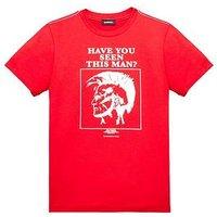 Diesel Boys Printed Short Sleeve T-shirt, Red, Size 14 Years