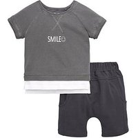 Mini V by Very Toddler Boys 2 Piece Layered Smile T-Shirt and Shorts Set - Grey, Grey, Size Age: 18-24 Months