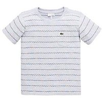 Lacoste Boys Short Sleeve Jacquard T-shirt, Silver Chine/Multi, Size 3 Years