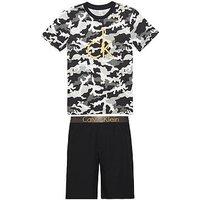 Calvin Klein Boys Camo Pyjama Set, Camo/Black, Size Age: 8-10 Years