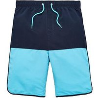 V by Very Boys Colour Bock Swim Shorts, Navy, Size Age: 9 Years